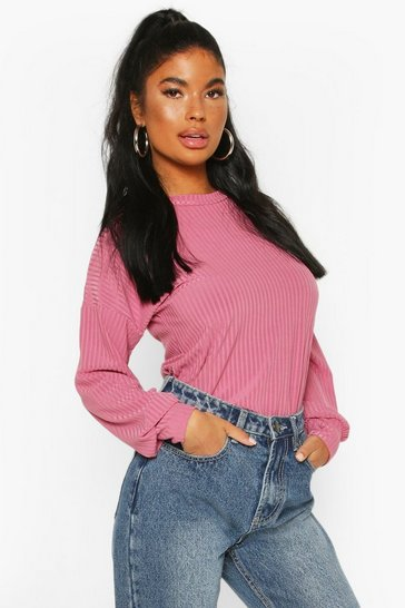 Pink Petite Ribbed Long Sleeve Top
