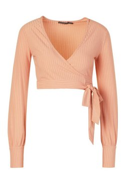 Peach Petite Ribbed Wrap Crop Top