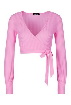 Pink Petite Ribbed Wrap Crop Top