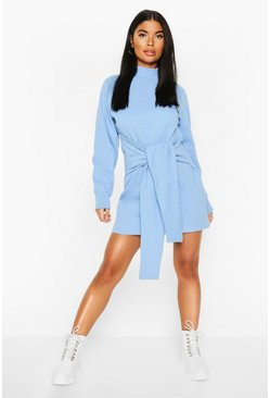 Blue Petite Tie Front Sweat Dress