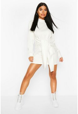Ivory white Petite Tie Front Sweat Dress