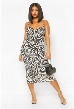 Plus Zebra Plunge Midaxi Dress, Black
