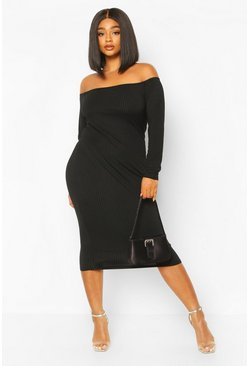 Black Plus Jumbo Rib Of The Shoulder Midi Dress
