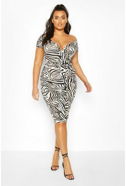 Black Plus Zebra Wrap Belted Midi Dress
