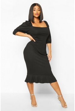 Black Plus Jumbo Rib Puff Sleeve Peplum Hem Midi Dress