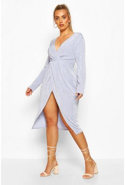 Sky blue Plus Textured Slinky Twist Detail Wrap Midi Dress