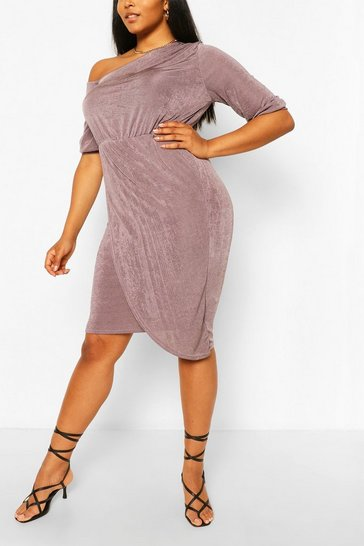 Charcoal grey Plus Textured Slinky Neck Midi Dress