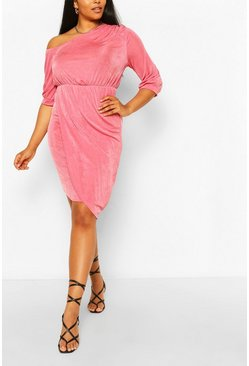 Rose pink Plus Textured Slinky Neck Midi Dress
