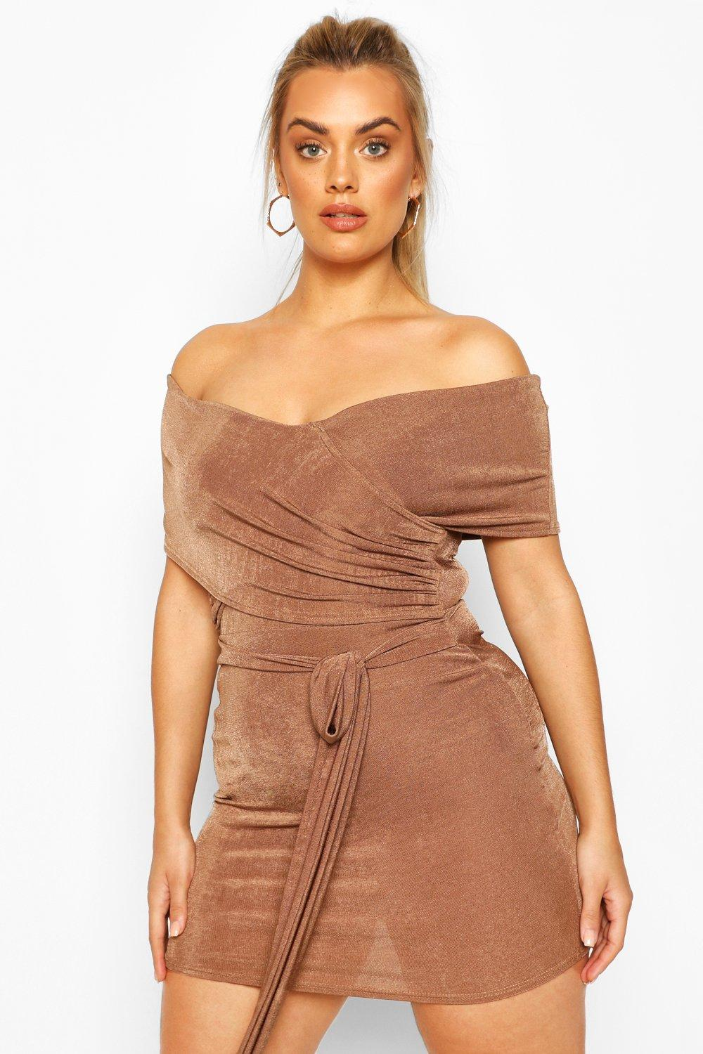 Plus Textured Slinky Bardot Wrap Dress 6