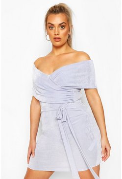 Sky blue Plus Textured Slinky Off The Shoulder Wrap Dress