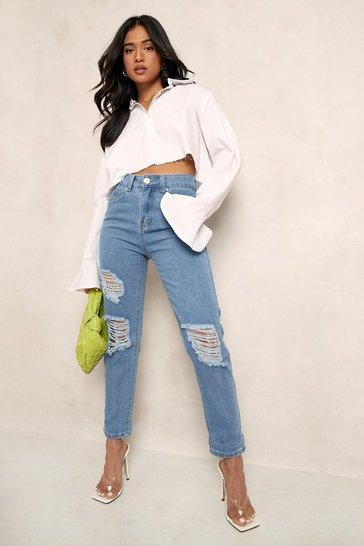 Light blue blue Petite High Rise Distressed Boyfriend Jeans