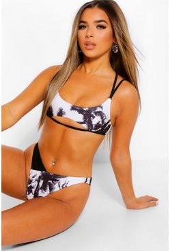 Black Petite Palm Print Crop High Leg Bikini