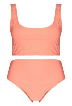 Coral Plus Deep Scoop High Waist Bikini