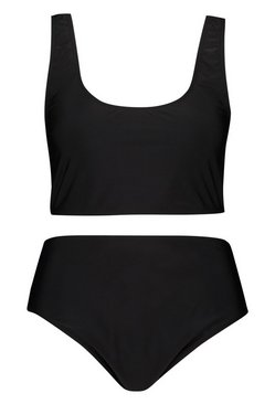 Black Plus Deep Scoop High Waist Bikini