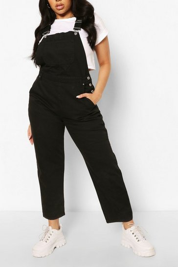 Black Plus Denim Boyfriend Dungarees