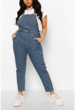 Mid blue blå Plus - Boyfriend dungarees i denim