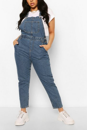 Mid blue blue Plus Denim Boyfriend Dungarees