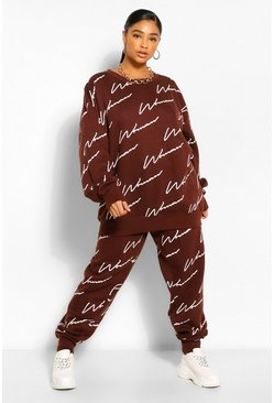 Chándal de sudadera con estampado Woman por toda la prenda Plus, Chocolate marrón
