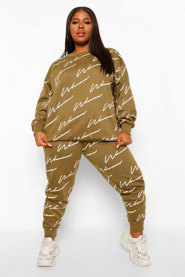 Khaki Plus All Over Woman Print Sweat Tracksuit