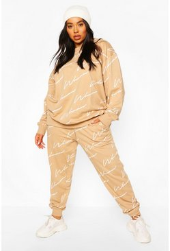 Stone beige Plus All Over Woman Print Sweat Tracksuit