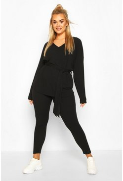 Black Plus Soft Rib Tie Waist Rope Legging Co-ord