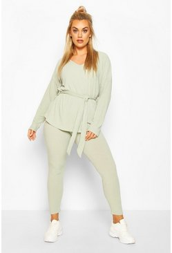 Sage green Plus Soft Rib Tie Waist Rope Legging Co-ord