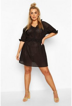 Black Plus Broderie Anglaise Beach Dress