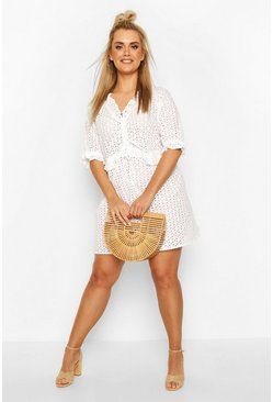 White Plus Broderie Anglaise Beach Dress