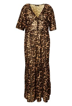 Brown Plus Leopard Ruffle Beach Midi Dress