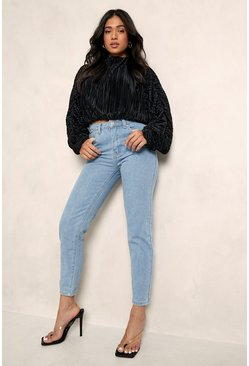 Light blue Petite High Rise Straight Leg Jean