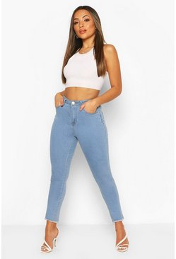 Light blue blue Petite Frayed Hem Skinny Jean
