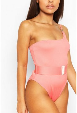 Coral pink Petite Rib One Shoulder Belted Swimsuit