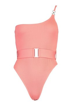 Coral Petite Rib One Shoulder Belted Swimsuit