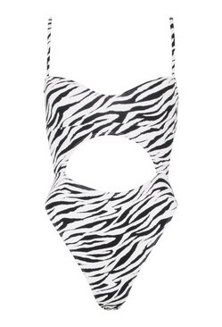 White Petite Zebra Cut Out Swimsuit