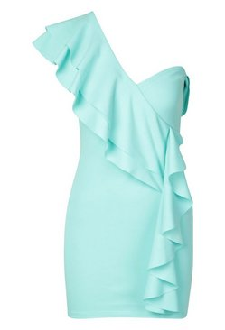 Aqua Petite One Shoulder Frill Bodycon Dress
