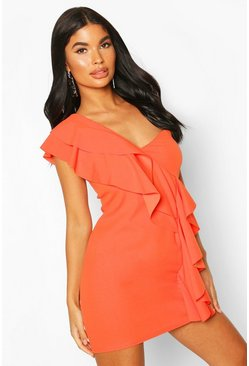 Orange Petite One Shoulder Frill Bodycon Dress