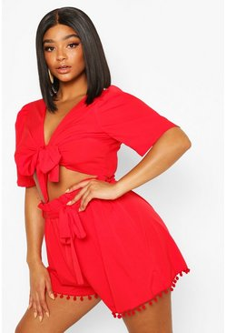 Red Plus Tie Front Tassel Hem Beach Co-ord