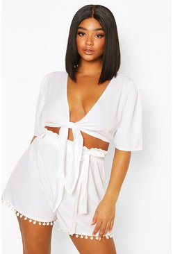 White Plus Tie Front Tassel Hem Beach Two-Piece