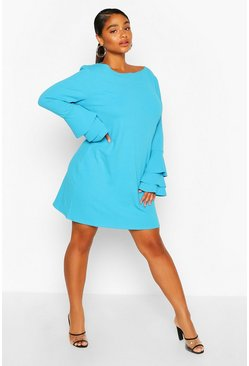 Turquoise blue Plus Frill Sleeve Shift Dress