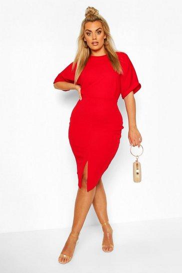 Red Plus Wiggle Midi Dress