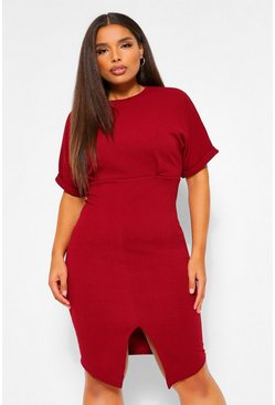 Robe midi wiggle Plus, Wine rouge