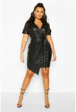 Black Plus Leather Look Wrap Dress