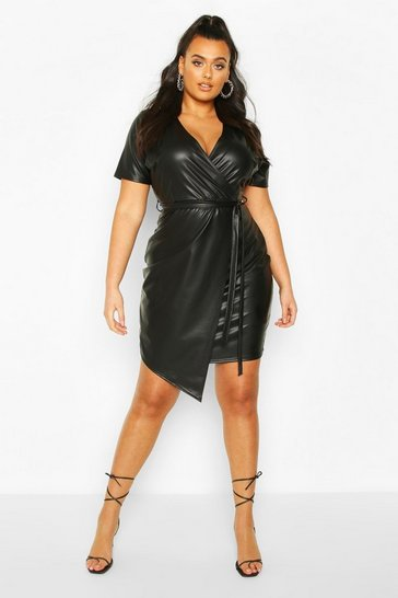 Black Plus Leather Look Wrap Dress