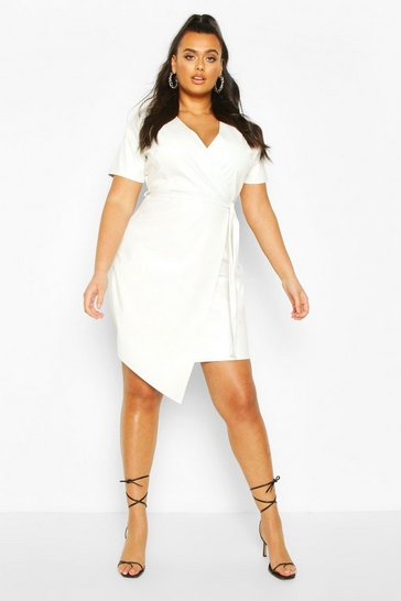 Ecru white Plus Leather Look Wrap Dress