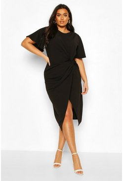 Black Plus Angel Sleeve Twist Detail Midi Dress