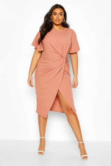Rose pink Plus Angel Sleeve Twist Detail Midi Dress