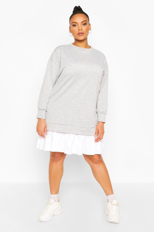DRESSES Plus Sweat Contrast Cotton Ruffle Dress