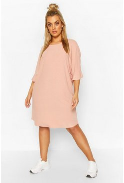 Blush pink Plus Ruffle Sleeve Soft Rib T-Shirt Dress