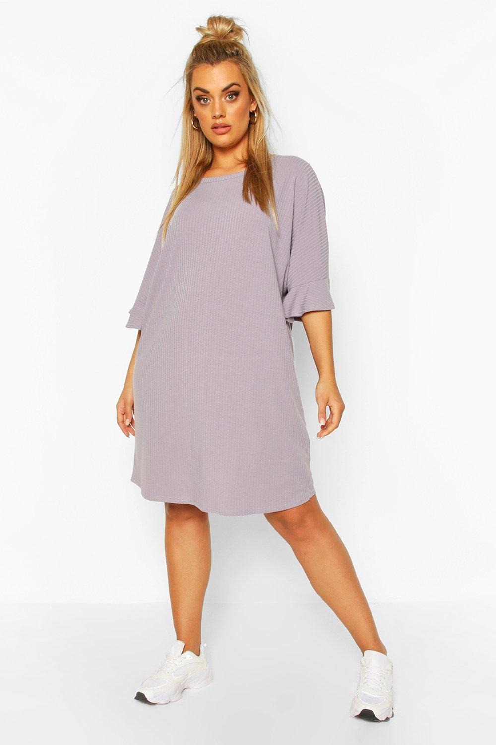 Plus Ruffle Sleeve Soft Rib T-Shirt Dress 16