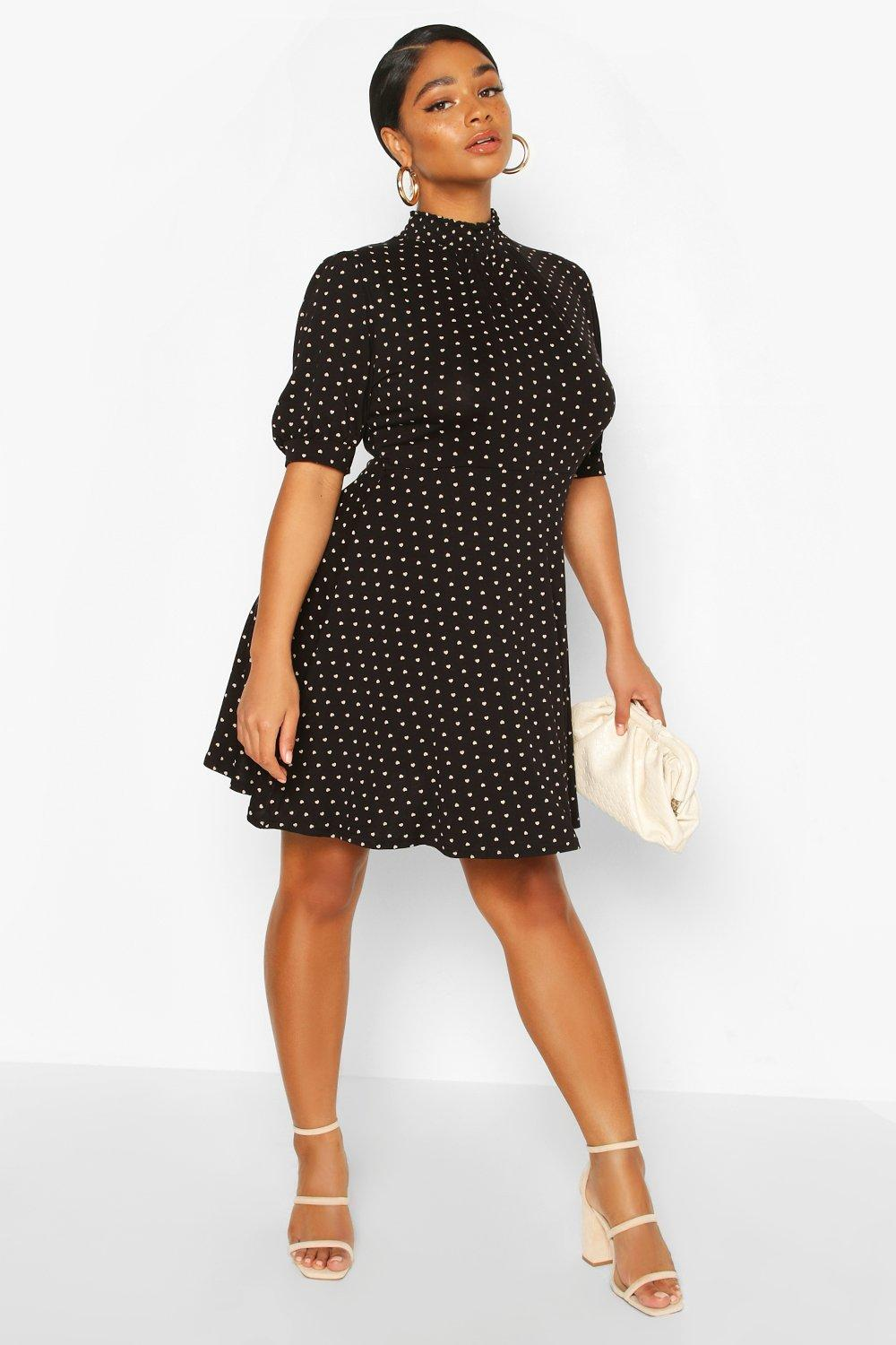 Plus Heart Print Puff Sleeve Skater Dress 8